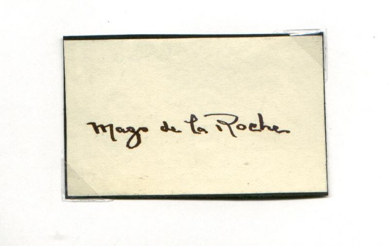 Mazo de la Roche's autograph